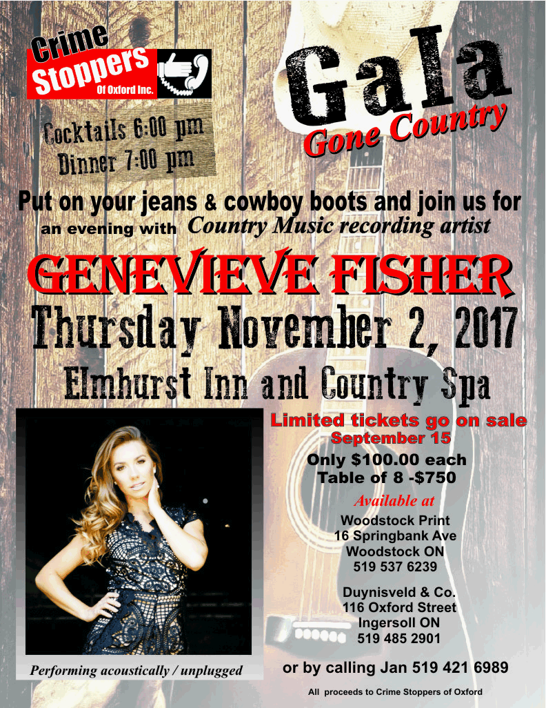 Gala poster for an evening with Genevieve Fisher